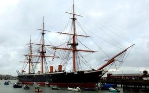 "Picture England, battleship, metal, Museum ship, ""Warrior"", «Warrior», Portsmouth, ""Warrior""), the British Royal Navy"