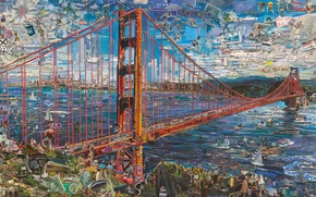 Picture Golden Gate Bridge, Vik Muniz, Postcards from Nowhere, contemporary art