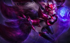Picture Fox, lol, League of Legends, fan art, ahri, skin, Nine-Tailed Fox