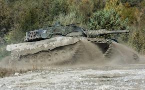 Wallpaper maneuvers, tank, combat, Leopard 2, dirt