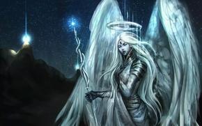 Picture girl, light, night, mountain, angel, staff, angel, NazNemati