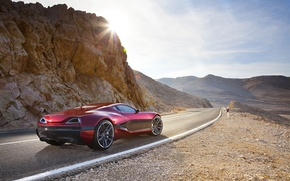 Picture road, rock, The sun, supercar, Concept One, Rimac