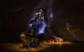 Picture music, Apocalypse, violin, gas mask