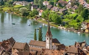 Picture river, home, Switzerland, architecture, Switzerland, town., Stein am Rhein