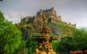 Picture the sky, trees, flowers, Park, castle, mountain, Scotland, hill, fountain, Edinburgh, edinburgh, sterling