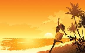 Picture sea, beach, summer, girl, mood, art