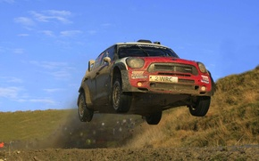 Picture Red, Mini Cooper, WRC, Rally, MINI, The front, Mini Cooper, In The Air, Flies