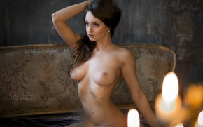Wallpaper chest, look, girl, face, pose, sofa, wall, body, portrait, candles, the atmosphere, figure, slim, brunette, ...
