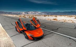 Picture McLaren, Orange, Front, Hybrid, Death, Sand, Supercar, Valley, Hypercar, Exotic, Volcano, Doors