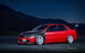 Wallpaper Mitsubishi, Red, Lancer, Evolution 9, Tuning, Wheels, Spoiler