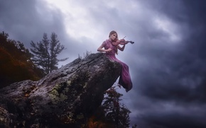 Picture girl, violin, stone, TJ Drysdale, Song For No One
