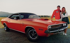 Picture girl, background, Dodge, Dodge, Challenger, guy, 1970, the front, Muscle car, Muscle car, R T, …