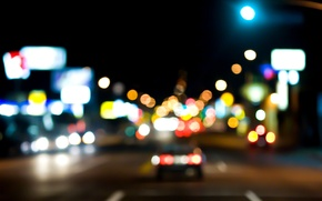 Picture road, machine, night, the city, lights, street, bokeh