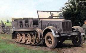 Picture Half-track tractor, art, soldiers, the Wehrmacht, half-track. Nazi Germany, German Wehrmacht, SdKfz 7, figure