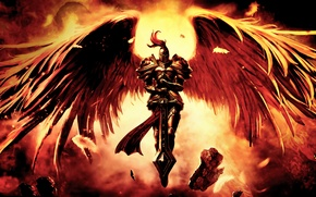 Wallpaper the wreckage, stones, wings, sword, warrior, art, Kayle, League Of Legends