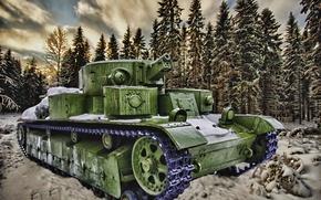 Picture winter, art, tank, T-28, the isthmus, 1939-1940, Karelian, the Soviet-Finnish war