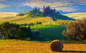 Picture the sun, trees, landscape, nature, sunrise, hills, field, morning, hay, Italy, trees, field, landscape, Italy, ...