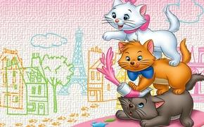 Picture cat, the city, cartoon, art, aristocrats