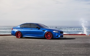 Picture sea, blue, BMW, BMW, red, red, wheels, drives, side view, f10, monte carlo blue