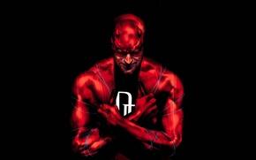 Picture red, mask, hero, male, black background, Daredevil, Marvel Comics, Daredevil, Matt Murdock