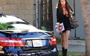 Picture auto, girl, street, Mercedes, bag, Nina Dobrev, Nina Dobrev, journal