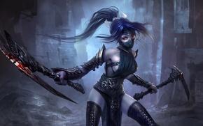 Wallpaper Fist of Shadow, girl, akali, braid, League of Legends, art