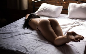 Wallpaper ass, girl, pose, panties, pillow, figure, slim, brunette, bed, lies, on the bed, photographer, sexy, ...