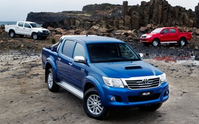 Picture Red, Auto, Blue, White, Wallpaper, Japan, Toyota, Car, Pickup, Auto, Hilux, Wallpapers, Toyota, Hilux, Picup