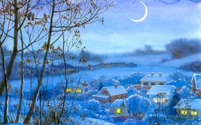 Wallpaper winter, snow, trees, night, figure, a month, valley, village, watercolor