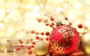 Wallpaper red, balls, New Year, holidays, Christmas, toys, decoration, bokeh, New Year, Christmas, ball, gold, patterns, ...