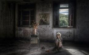 Picture girl, room, window
