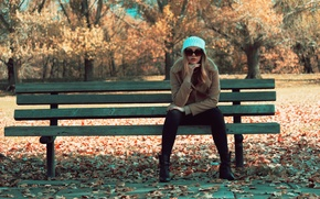 Wallpaper bench, glasses, sitting, girl, autumn