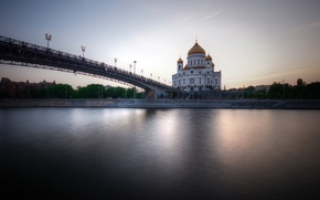 Picture Moscow, bridge, Moscow, The Patriarchal bridge, The Cathedral Of Christ The Savior Orthodox Church, Moscow ...