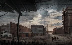 Wallpaper S.T.A.L.K.E.R. Call of Pripyat, Call Of Pripyat, the plant Jupiter, art, dogs, stalker, figure, Stalker, ...
