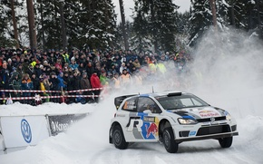 Picture Winter, Snow, Forest, Volkswagen, People, WRC, Rally, Rally, Polo, Fans, Sebastien Ogier
