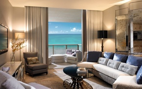 Wallpaper sea, room, sofa, interior, balcony
