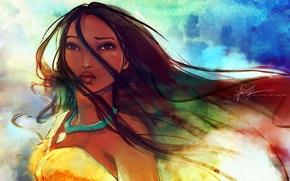 Wallpaper girl, the wind, medallion, pride, strands, Pocahontas. look