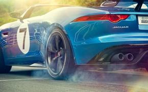 Picture auto, Concept, smoke, Jaguar, wheel, slip, back, Project 7