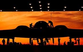 Picture sunset, hangar, bomber, silhouettes, strategic, unobtrusive, equipment, training, heavy, Northrop B-2 Spirit