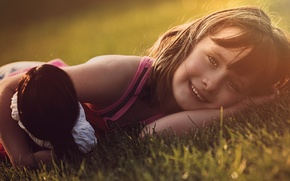 Picture grass, look, childhood, face, glade, toy, the game, portrait, doll, girl, lies, Sunny, smiling, Wallpaper …