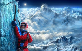 Picture snow, mountains, drawings, male, climbers