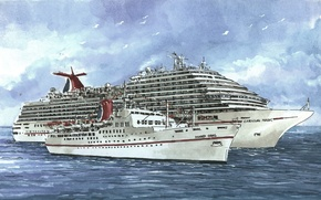 Picture The sky, Sea, Figure, Liner, The ship, Mardi Gras, Carnival Magic