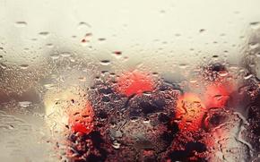 Picture machine, glass, drops, macro, light, lights, rain, bokeh
