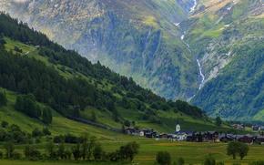 Wallpaper trees, mountains, stream, rocks, home, Switzerland, valley, gorge, town, Goms, Ulrichen