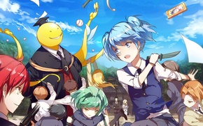 Picture children, weapons, anime, Ansatsu Kyoushitsu, Assassination Classroom, the class assassins, Koro Sensei