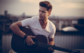Picture Brunette, Guitar, Wallpaper, Photo, Male, Man, Portrait, Singer, People, Multi-Monitors, Bastian Baker