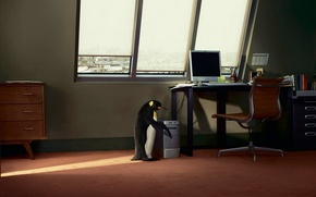 Wallpaper computer, table, window, penguin