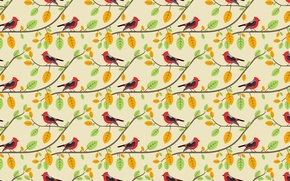 Picture branches, pattern, birds
