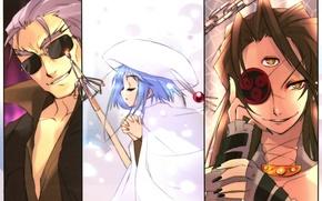Picture magic, glasses, shakugan no shana, grin, blue hair, art, prayer, noizi ito, sydonay, hecate, bel …