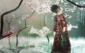 Picture girl, violin, garden